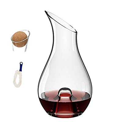MamaHome | Premium Wine Decanter | 100% Lead-Free Hand Blown Crystal Glass | 1.3Liter | Red Wine Carafe | Clear | Wine Gift | Bonus Cleaning brush