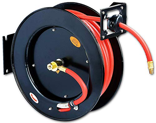 REELWORKS Air-Hose-Reel Retractable 3/8' x 50' ft Spring Driven Steel Construction Heavy Duty Industrial Max 300 PSI Premium Commercial Flex Hybrid Polymer Hose