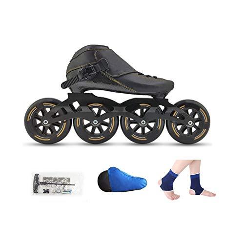 mfw@wewe Patines en línea, Adulto 4 Ruedas 90mm-110mm Rueda PU Cuero Superior Professo para niños Skates Skates 4 Colores (Color : A, Size : EU 35/US 4/UK 3/JP 22.5CM)