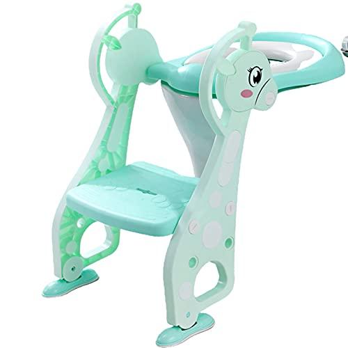 ngdt Asiento De Inodoro para Niños Reductor De WC para Bebé Adaptador WC con Cojín Suave Orinal De Bebé En Diseño Antideslizante -Green