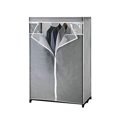 Type A Garment Rack Clear Cover  Closet Organizer with Non-Woven Fabric Protective Cover with Durable Zipper  Perfect for Storage in Your Bedroom Closet Basement Seasonal Wear  Gray 61 in