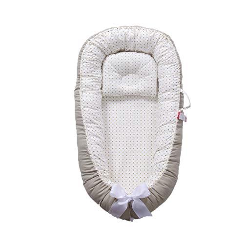 TEALP Kuschelnest Babynest Multifunktionales Nest für Babys Säuglinge Reisebett, 100% Baumwolle, grüner Punkt(0-24 Monate)