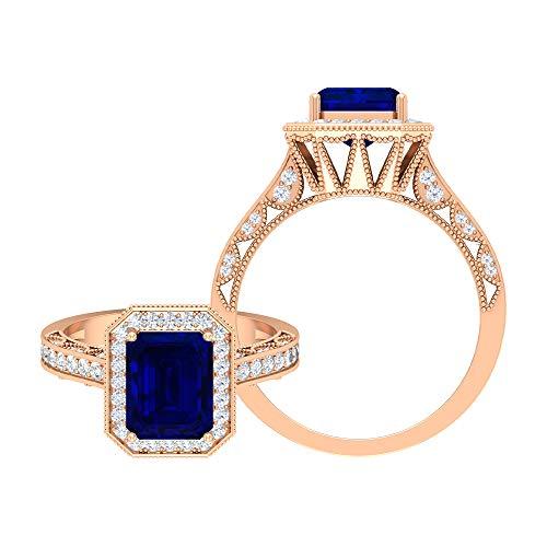 Anillo de compromiso antiguo de 2,25 CT con zafiro azul creado y acento moissanita (6x8 mm, corte octágono creado zafiro azul), 14K Oro rosa, Size:EU 60