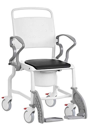 FabaCare Toilettenrollstuhl Bonn, made in Germany, Premium Toilettenstuhl, WC Rollstuhl, fahrbar, mit Eimer, bis 130 kg, Grau-Grau