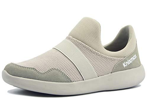 Knixmax-Zapatillas sin Cordones para Mujer, Zapatillas de Deportivo Sneakers Running Zapatillas de Malla Transpirable Zapatos para Correr Gimnasio Athletic, EU37 (UK4) Beige