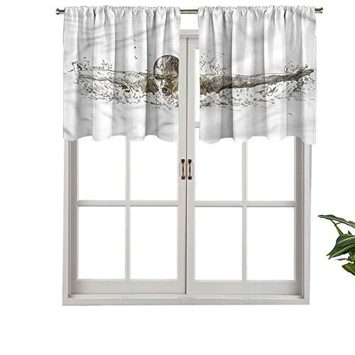 Hiiiman - Juego de 1 cenefa para cortinas olímpicas con aislamiento térmico, 106,7 x 45,7 cm para dormitorio, baño y cocina
