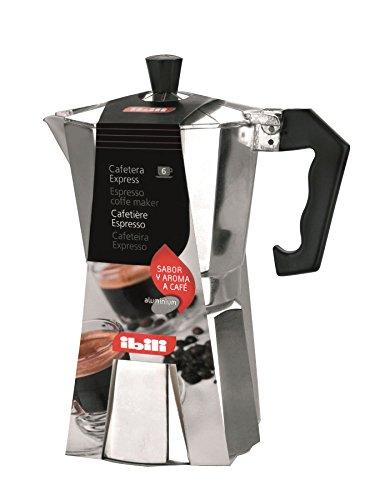 Ibili 610906 - Bahía Cafetera Express Aluminio fundido 6 Tazas, color negro