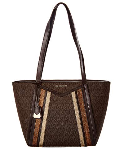 "Brown MK Signature Coated Twill w/ metallic leather diagonal stripe. Top zipper closure. Exterior front slip pocket. Golden hardware. 11.5"" dual shoulder straps drop. MK logo hangtag charm. Interior zip pocket, One large slip pocket and Two multi-fun..."
