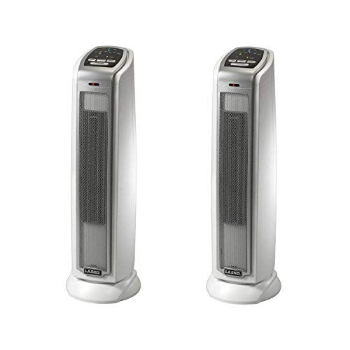 Lasko 1500W Portable Electronic Thermostat Ceramic Tower Space Heater (2 Pack)