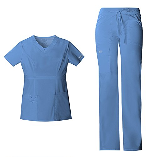 Cherokee Women's Workwear Core Stretch Junior Fit V-Neck Scrub Top 24703 & Junior Fit Low-Rise Drawstring Cargo Scrub Pants 24001 Medical Scrub Set (Ciel - X-Small/Small Petite)