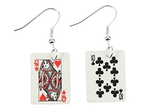 Miniblings Spielkarten Skat Kartenspiel Ohrringe - Handmade Modeschmuck I Karten Kasino Poker Doppelkopf - Ohrhänger Ohrschmuck versilbert