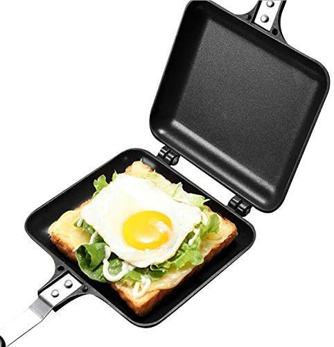 HiCollie ホットサンドメーカー 直火アルミ合金平底両面フライパン 耐熱パン、トースト、ベーキングパン、家庭用ノンスティックパン、サンドイッチ、フライパン、アウトドアキャンプに使用できます 使いやすさ