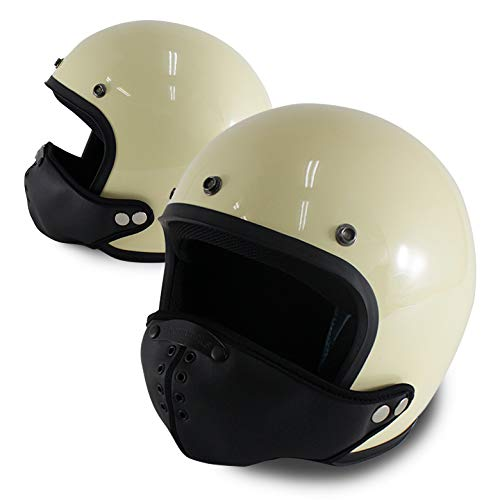 DAMMTRAX ガーゴイルマスク & JET-Dヘルメットセット (パールアイボリー) ジェットヘルメット フェイスガード バイク 防寒 花粉対策 排ガス軽減 ヘルメット マスク フェイスマスク フリー,パールアイボリー