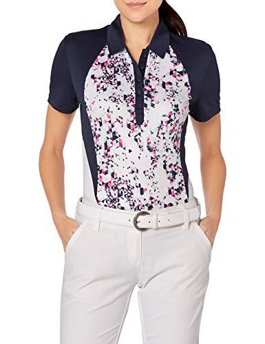 PGA TOUR Damen Short Sleeve Confetti Print Polo Golf-T-Shirt, Bright White, Groß