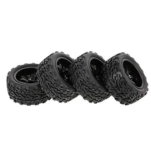 Dapei 4Pcs Reifen Räder kompatible mit 1/10 HSP HPI Redcat RC Car Länge Blockprofil 7 Speichen Felge Ferngesteuertes Auto Fahren Ersatzteil Reifen