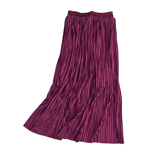 Primavera Verano Faldas de Mujer Faldas largas Plisadas de Verano Faldas Midi metlicas Faldas Largas Mujer Mujer
