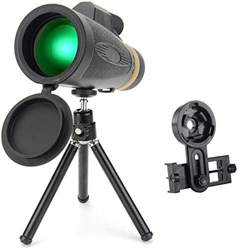1 - Telescopio monocular de 16x50, zoom de alta potencia Telescopio monocular portátil con visión nocturna BAK4 Lente prisma Monocular con adaptador para teléfono inteligente y trípode para observaci