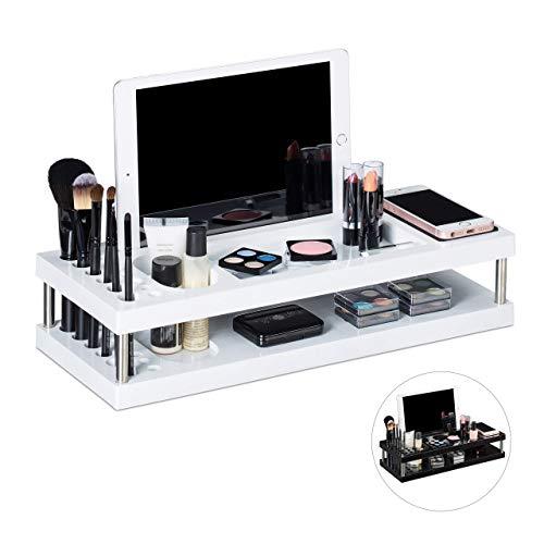 Relaxdays Tafelorganizer, Make Up Organizer met planken voor tablet en smartphone, penseelhouder, kantoor, 2 etages, wit