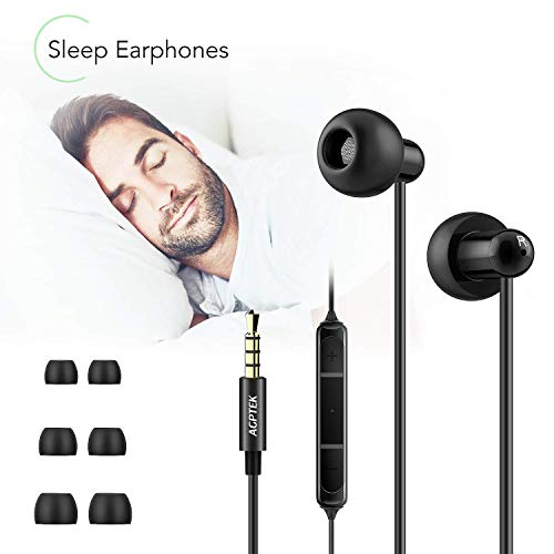 Auriculares In-Ear para Dormir, AGPTEK Cascos con Micrófono y Cable Control Sonido Estéreo 3.5mm para Dormir, Deportes, Viajes, Meditación y Relajación, Negro (AGPTEK ZP04)