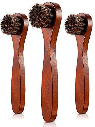 Jovitec 3 Pieces Horsehair Shoes Polish Brushes Care Clean Daubers Applicators (Set B)