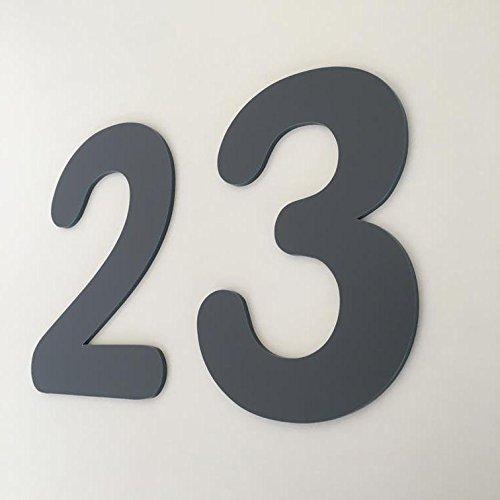 ServeWell Grafiet Grijs Mat, Platte Afwerking, Huisnummers - Afgerond 5 cm Grijs