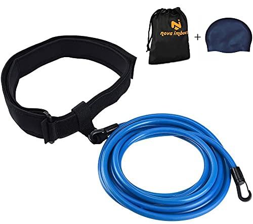 Nova imboxs Nadador Estático,Cinturón de natación Ajustable para Piscinas de natación, Goma elástica natación con un Gorro de natación Gratis (Azul)