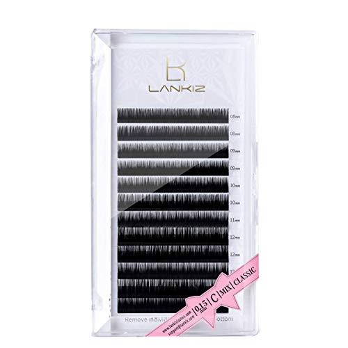LANKIZ Wimpernverlängerung Wimpern Einzeln, C Curl0.15mm Einzelwimpern Set Gemischt Tablett Künstliche Wimpern Extensions