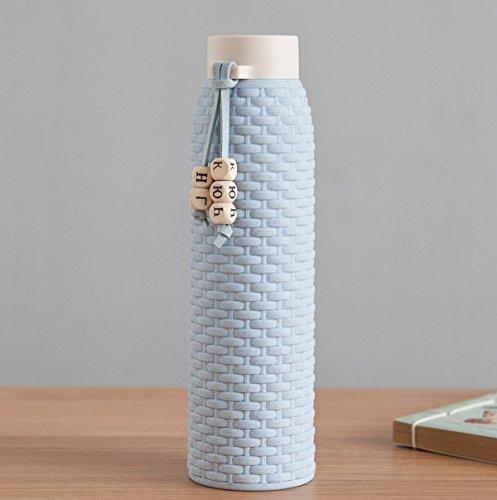 JMAHE Trinkflasche Glas Auslaufsiche Sportflasche Trinkflasche Glas mit Silikonhülle rutschfest Doppelschichtfür Yoga & Sport, Smoothies, Fitness, Sport, Leben (Graues Blau)