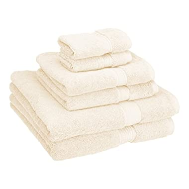 Superior 900 GSM Luxury Bathroom 6-Piece Towel Set, Made of 100% Premium Long-Staple Combed Cotton, 2 Hotel & Spa Quality Washcloths, 2 Hand Towels, and 2 Bath Towels - Cream
