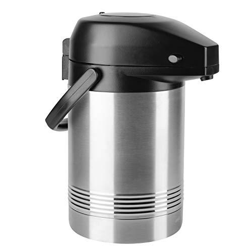 Emsa 637201600 President Pump Jarra de vacío   2 litros   12 h de calor   cabezal de bomba extraíble   Acero inoxidable / negro