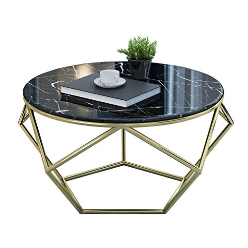 Nordic Living Room Small Coffee Table | Simple Modern Iron Art Tea Table | Round Marble End Table, para Sala...