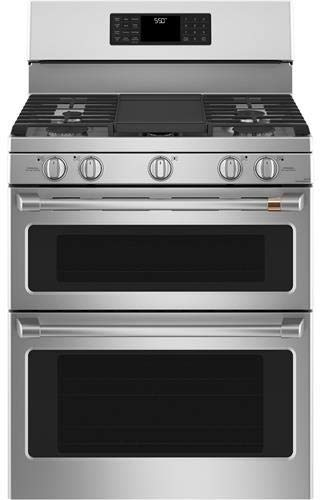 "GE CAFE CGB550P2MS1 30"" Matte Collection Freestanding Gas Double Oven with Convection Range 6.7 cu. ft. Total Oven Capacity Star K Certified WiFi Connect True European Convection in Stainless Steel"