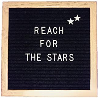 10x10 Inch Wood Frame Black Felt Letter Board | Small Changeable Letter Board | Open Face Letter Board | Mountable Hanging Clip | Includes 340 Letters, Numbers & Emojis with Canvas Storage Bag