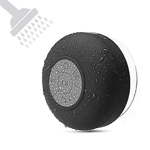 Mini Bluetooth Shower Speaker Waterproof Handsfree Speakerphone Music in Bathroom Wireless Portable Speakers Built-in Mic Suction Cup for Kids Gift Adults Home Bathroom-Black