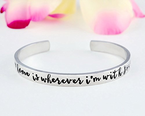 Home Is Wherever I'm With You - Hand Stamped Aluminum Cuff Bracelet, Girlfriend Gift, Gift For Wife, Anniversary Gift For Her, Military Gifts, Deployment Jewelry