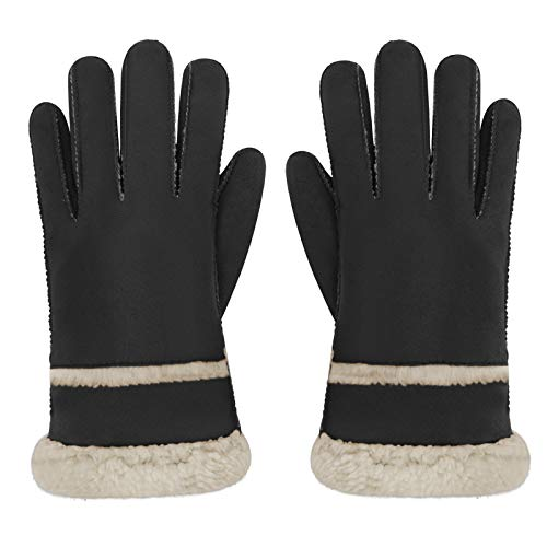 Windproof Warm Faux Fur Gloves for Women Teens, Winter Cold Proof Cozy Fleece Lining Full Finger Gloves Oversize Driving Cycling Motorcycle Mittens Outdoor Camping Running Ski Gloves