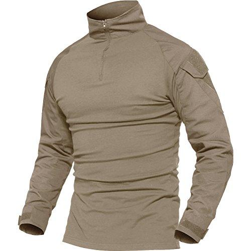 MAGCOMSEN Herren Airsoft Shirt Langarm Laufshirt Atmungsaktiv Funktionshirt mit Taschen Multicam Shirt Männer Kompressionsshirt Robust Tactical Shirt Bundeswehr Khaki L (Etikett 2XL)