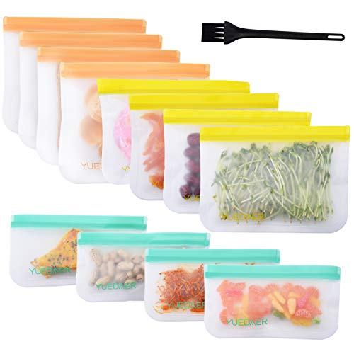 Yuedaer Reusable Food Storage Bags 12 Pack Reusable Zip Lock Bags Freezer Bag Safe for Snacks Sandwich Reusable Food Storage Organization Sets Lunch Leak Proof Baggies with a Cleaning Brush