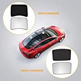 BougeRV for Tesla Model 3 Glass Roof Sunshade, Mesh Top Roof Window Sunshade Fits Tesla Model 3 2017-2020 Half Covered Rear Sunshade Type with 2 Free Heat Insulation Film