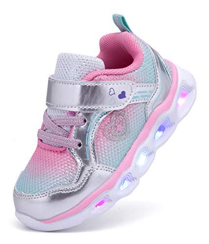 SINOSKY Girls Led Shoes Flashing Light Up Sneakers (8 Toddler,Grey)