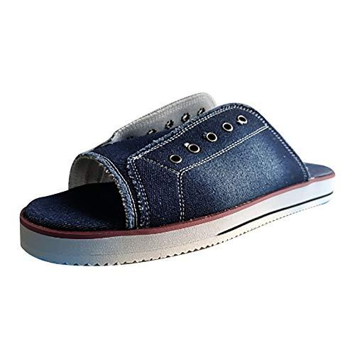 XOXSION Sandalias de verano para mujer, cómodas sandalias planas con punta abierta, estilo vintage, un pedal, de lona, zapatillas planas para mujer, color Azul, talla 39 EU