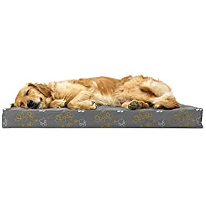 Furhaven Pet Dog Bed – Deluxe Orthopedic Mat Water-Resistant Indoor-Outdoor Garden Traditional Foam Mattress Pet Bed with Removable Cover for Dogs and Cats, Iron Gate, Large