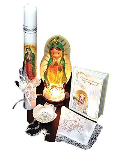 Spanish Handmade Christening/Baptism Set for Girl, Boy, or Unisex:Virgen Virgencita Nightlight Statue Lamp Candle, Bible, Dry Cloth, Sea Shell, Rosary –Bautizo Religious Gift