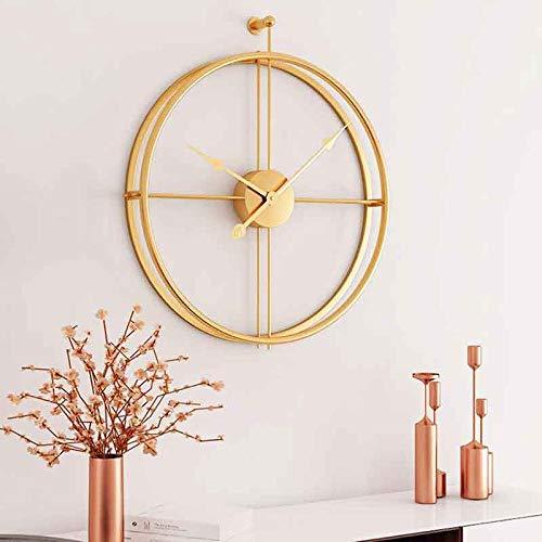 Poca-Home Wanduhr Uhr Ohne Tick Geräusche Modern Metall Deco Hochwertig Vintage Wohnzimmeruhr (Gold)