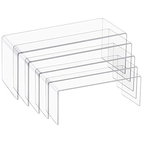Gernian Paquete de 5 Elevadores de ExhibicióN de AcríLico Transparente, 5 TamaaOs de AcríLico para ExhibicióN de Joyas, Accesorios de ExhibicióN para ExhibicióN de Pasteles, ExhibicióN