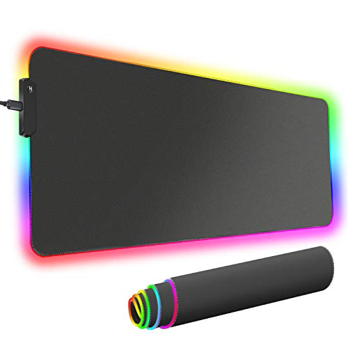 Cozime RGB Gaming Mouse Pad, Large Extended Soft Led Mouse Pad with 12 Lighting Modes , Computer Keyboard Mousepads Mat 800 x 300mm / 31.5×11.8 inches