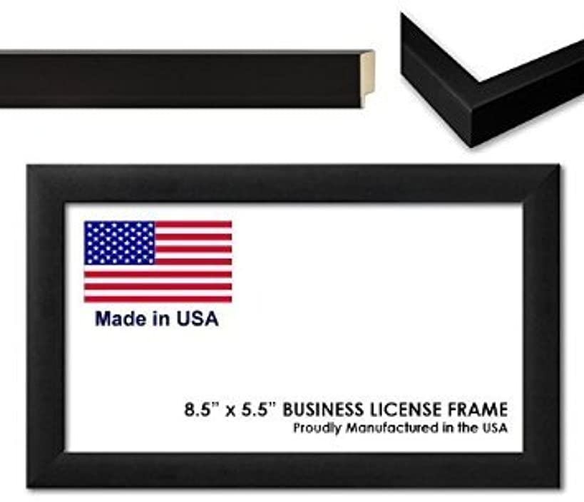8.5 x 5.5 Inch Professional Business License Frame - Black Wood