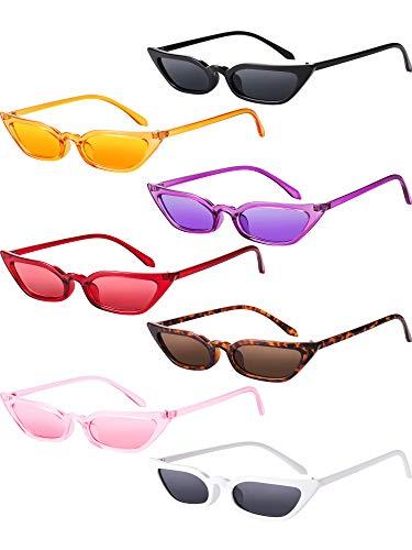 Zhanmai Retro Small Cat Eye Sunglasses Vintage Square Shade Women Cute Skinny Cat Eye Eyewear (7 Pairs)