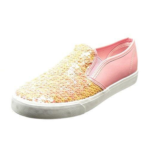 Angkorly - Damen Schuhe Sneaker - Slip-On - Glitzer - glänzende Flache Ferse 2.5 cm - Rosa PQ-4 T 39