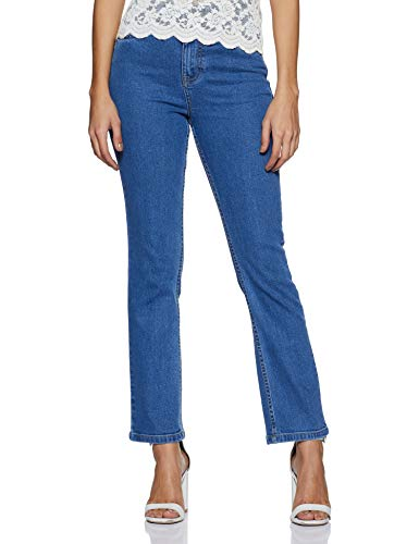 AKA CHIC Women's Straight Fit Jeans (AKCB 1324_Mid Stone_32)